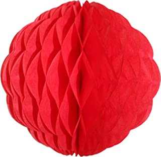 product image for 3-Pack 8 Inch Honeycomb Scalloped Tissue Ball Party Decoration (Red)