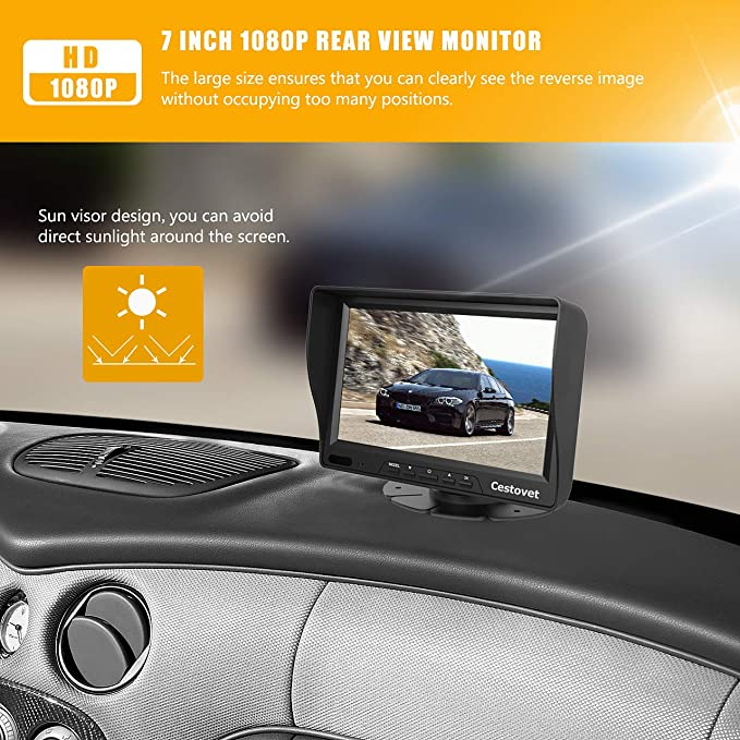 10M//33ft Trucks Vans RVs,Mini Van BW 7 inch Car Rearview Mirror Monitor 4pin Camera 18LED IP68 Waterproof Reversing Camera with Aviation Extension Cable for Cars