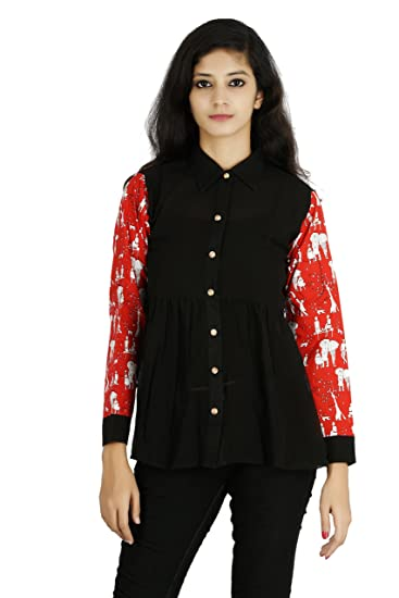 6815ea92 Goswankyy Ladies Black and Red Georgette Top | Multi Colour Long Sleeve  Shirt Top for Girls: Amazon.in: Clothing & Accessories