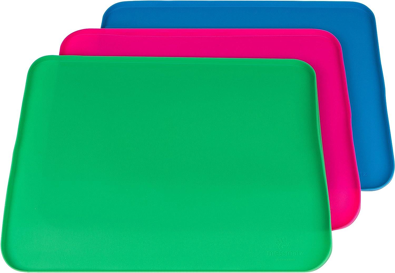 PlaSmart Messmatz Silicone Mat for Crafts, Snacks, Playtime 21 x 16 Green