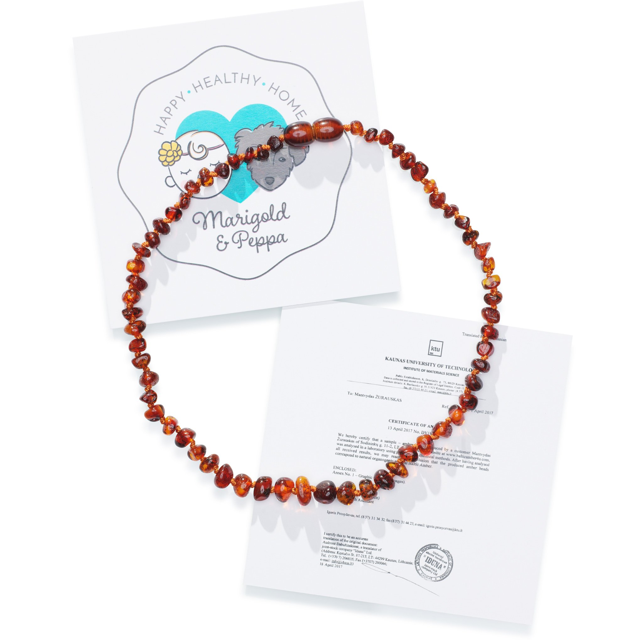 Marigold & Peppa | Baltic Amber Teething Necklace for Babies | Certified Authentic Polished Baltic Amber | Oral Pain Reliever | Natural Analgesic | Anti Inflammatory |
