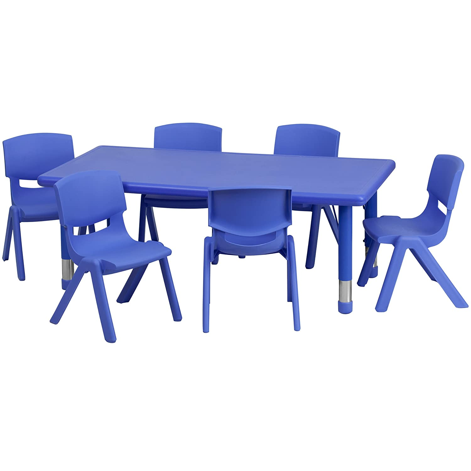 Amazon.com Flash Furniture 24u0027u0027W x 48u0027u0027L Rectangular Blue Plastic Height Adjustable Activity Table Set with 6 Chairs Kitchen u0026 Dining  sc 1 st  Amazon.com : plastic childrens table and chairs set - pezcame.com
