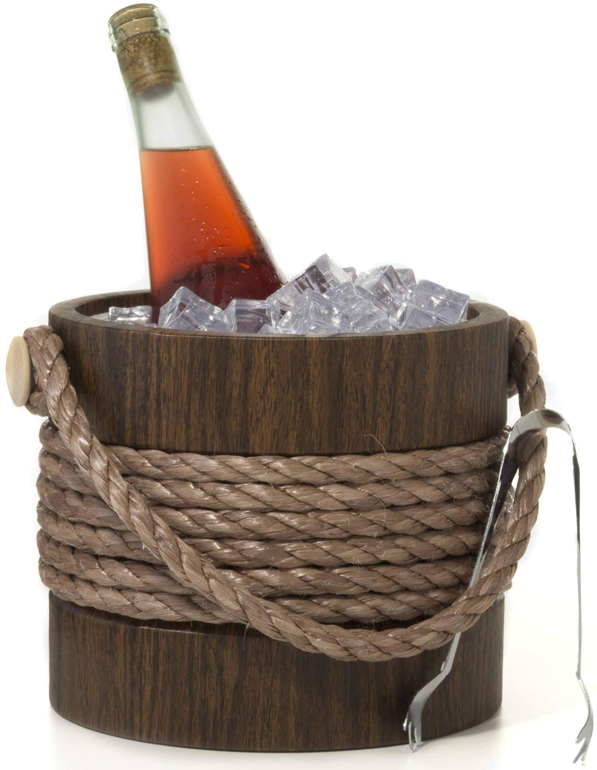 Hand Made In USA Walnut Grain With Rope Handle Double Walled 3-Quart Insulated Ice Bucket With Bonus Ice Tongs by Mr. Ice Bucket By Stephanie Imports (Image #4)