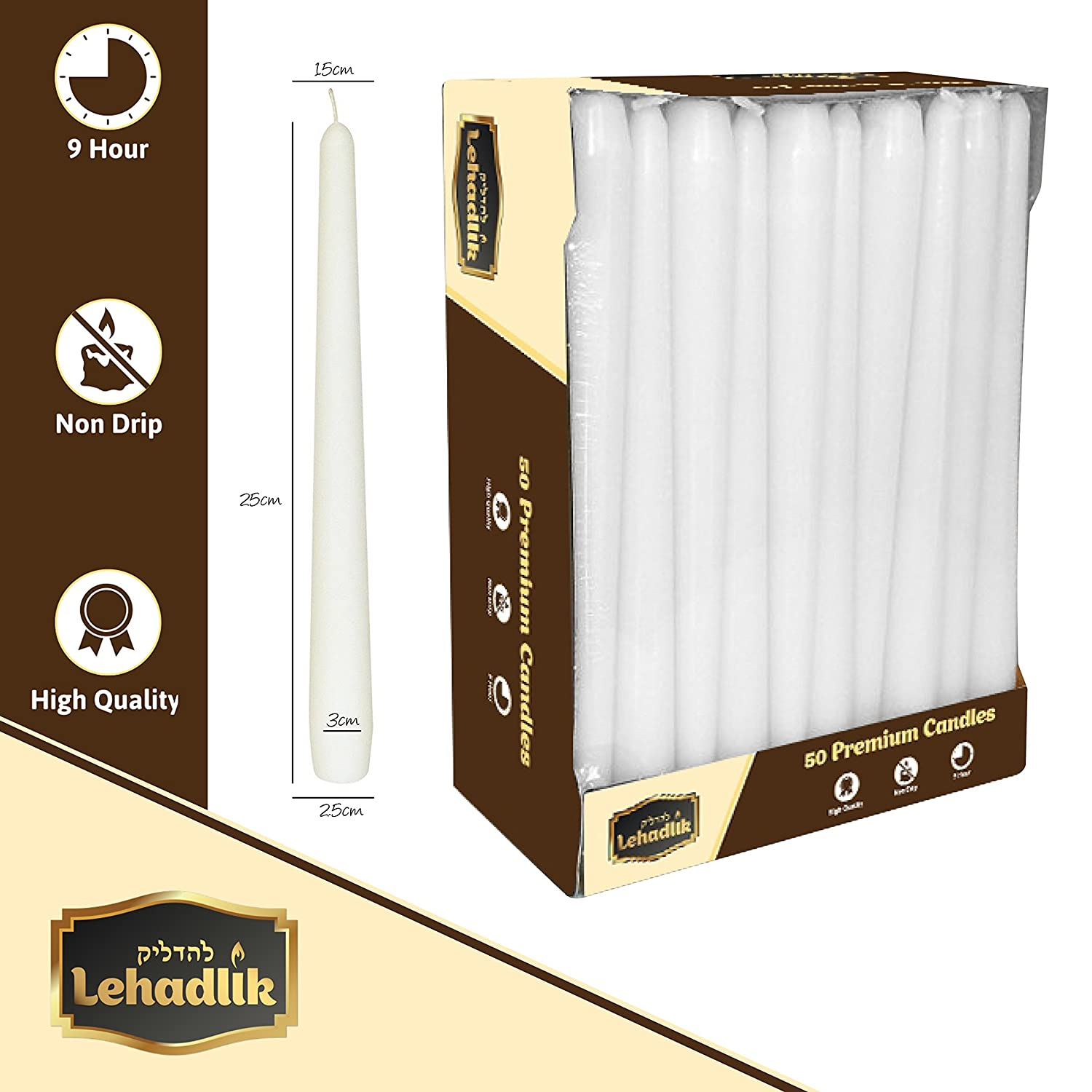 200 x 25cm White Dinner CANDLES. High Quality.
