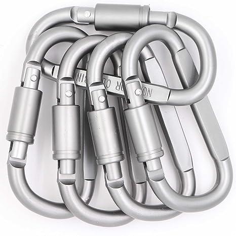 Amazon.com: Mosquetón con clip en forma de D con cierre de ...