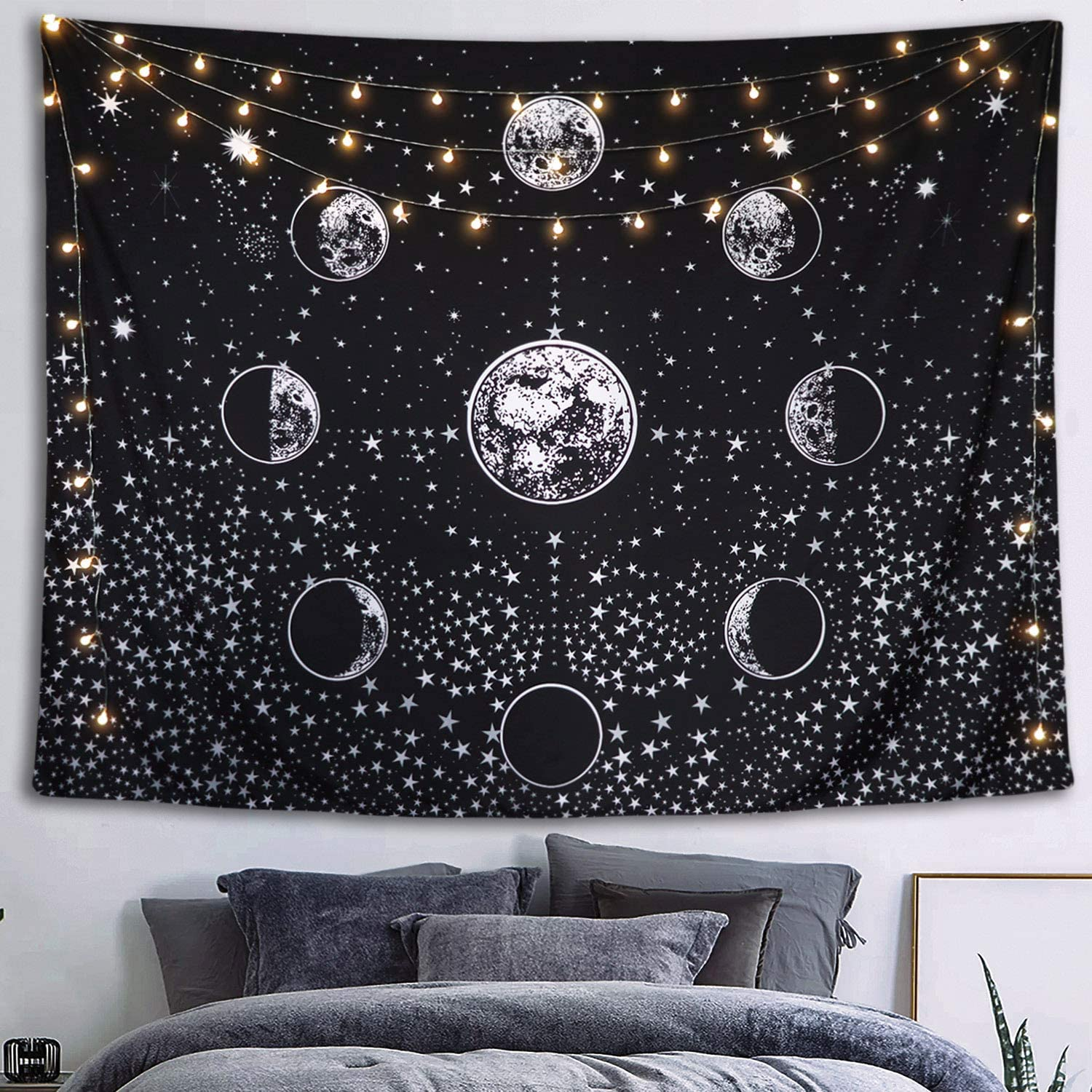 Black and White Stars Starry Night Sky Universe Tapestry 60/×80 inches Neasow Moon Phase Tapestry Wall Hanging