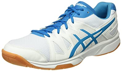 asics white and blue