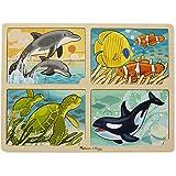 Melissa & Doug 4-in-1 Sea Life Jigsaw Puzzle, Multi Color