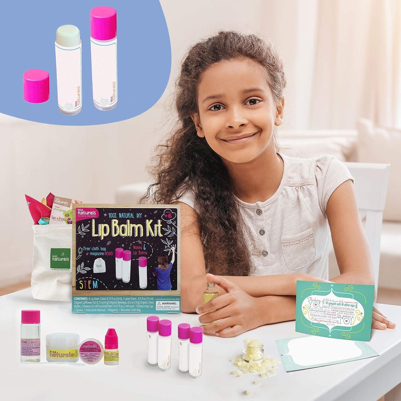 Kiss Naturals Lip Balm Kit - DIY for Kids Crafts Kit - 100% Natural and Organic Lip Balm Making Kit for Kids - STEM Creative Kit for Girls and Boys