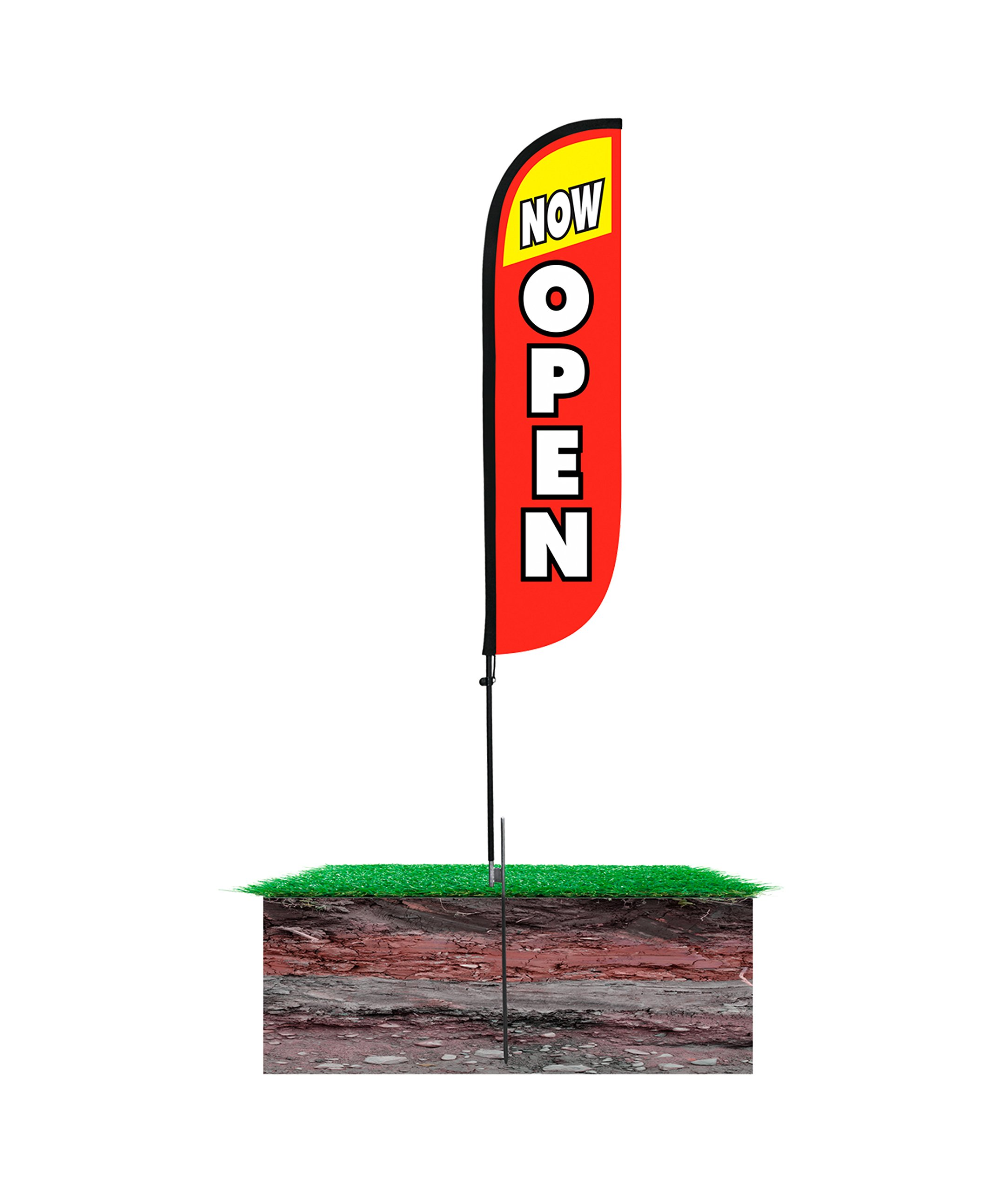 LookOurWay Now Open Red & Yellow Feather Flag Complete Set with Poles & Ground Spike, 5' by LookOurWay (Image #4)
