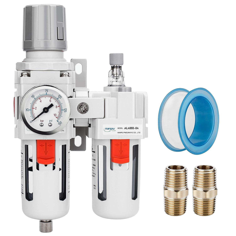 "NANPU 1/2"" NPT Compressed Air Filter Regulator Lubricator Combo Water/Oil Trap Separator - Gauge(0-150 psi), Poly Bowl,Semi-Auto Drain, Bracket - 3 in 1 Two Unit"