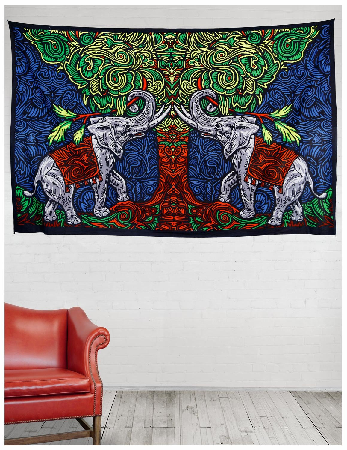 Sunshine Joy 3D Elephant Tree Tapestry Tablecloth Wall Art Beach Sheet Huge 60x90 Inches Amazing 3D Effects 76139