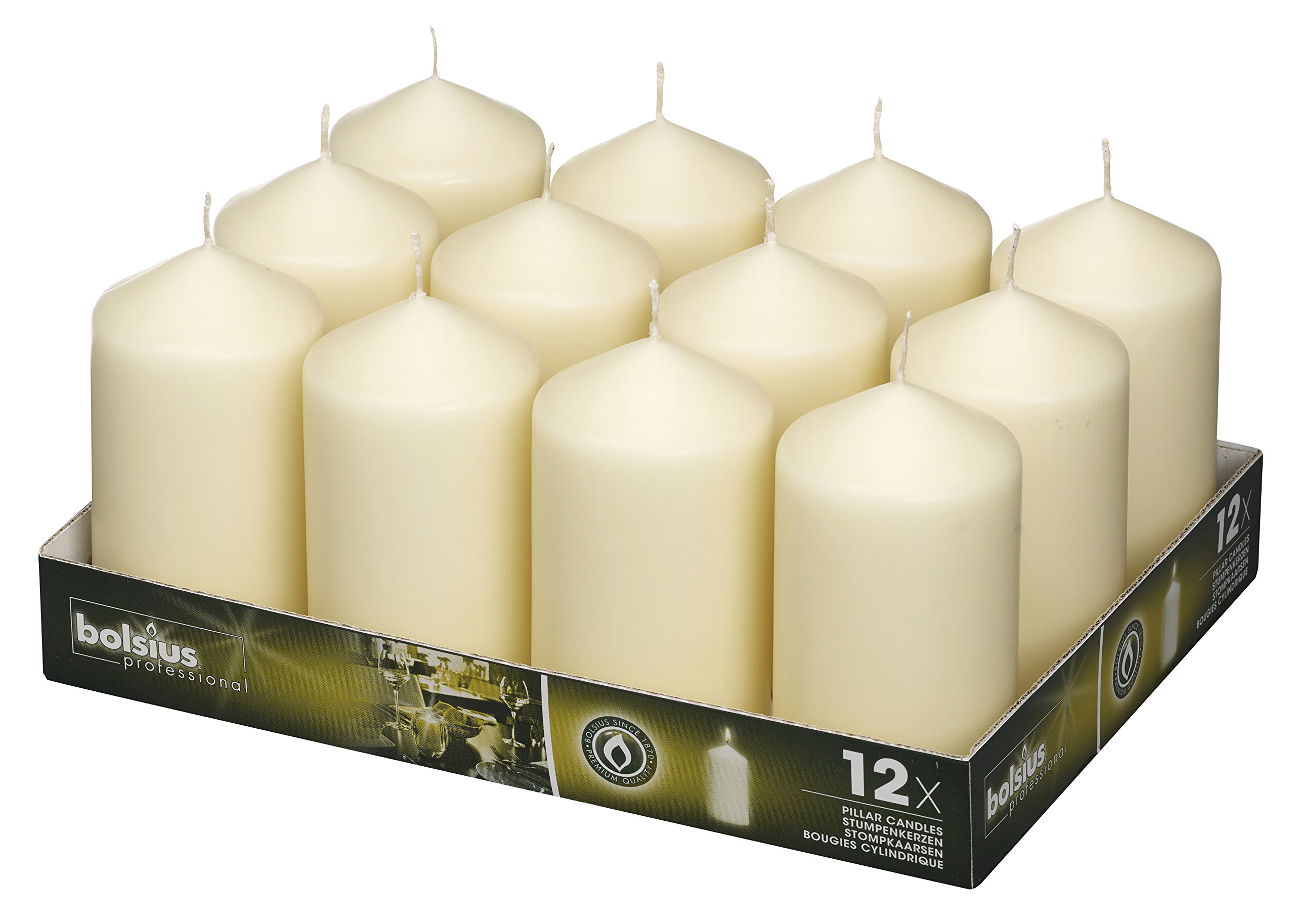 BOLSIUS Set of 12 Ivory Pillar Candles - 40 Long Burning Hours Candle Set - 5-inch x 2.75-inch Dripless Candle - Perfect for Wedding Candles, Parties and Special Occasions by BOLSIUS