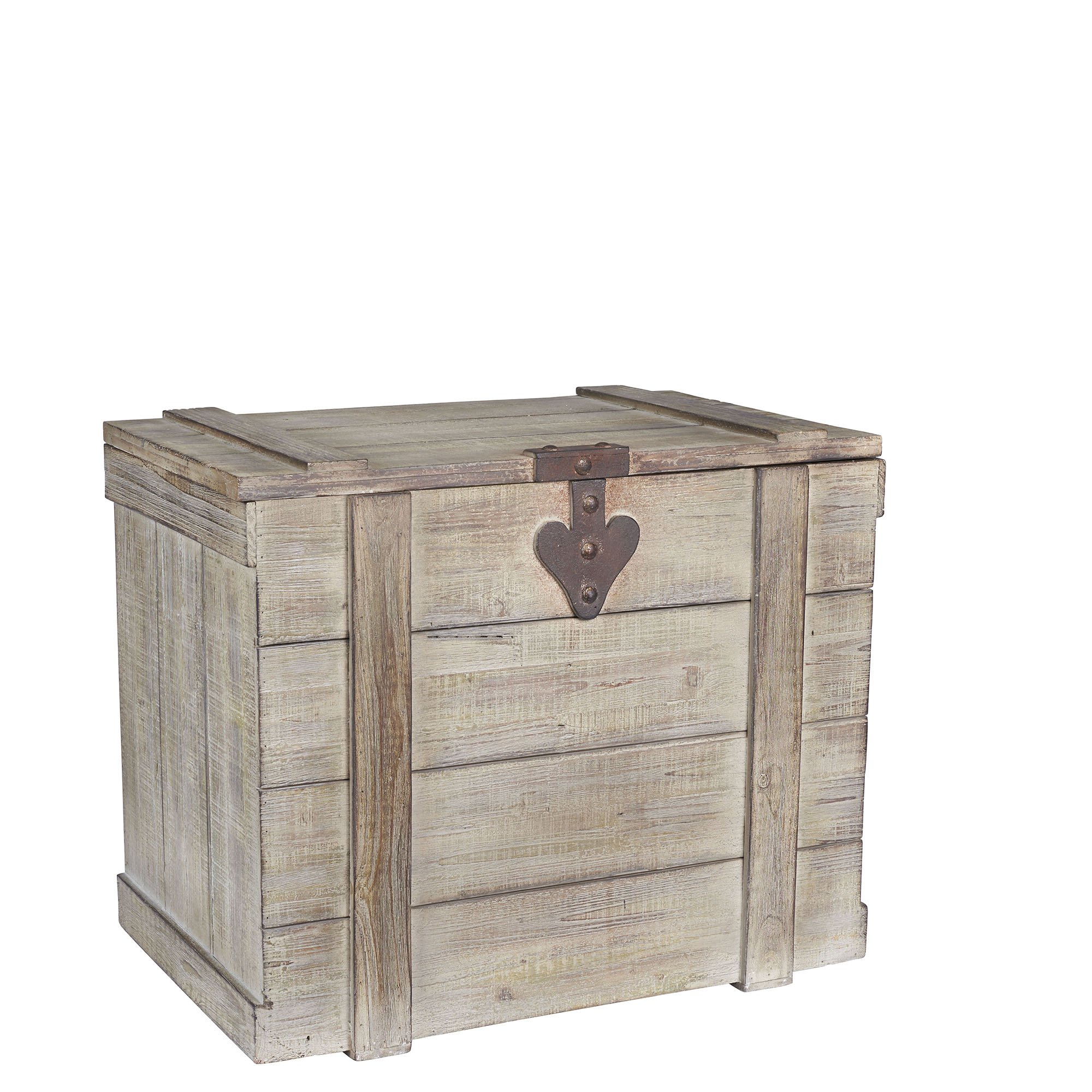 Household Essentials White Washed Rustic Decorative Wooden Trunk, Large by Household Essentials