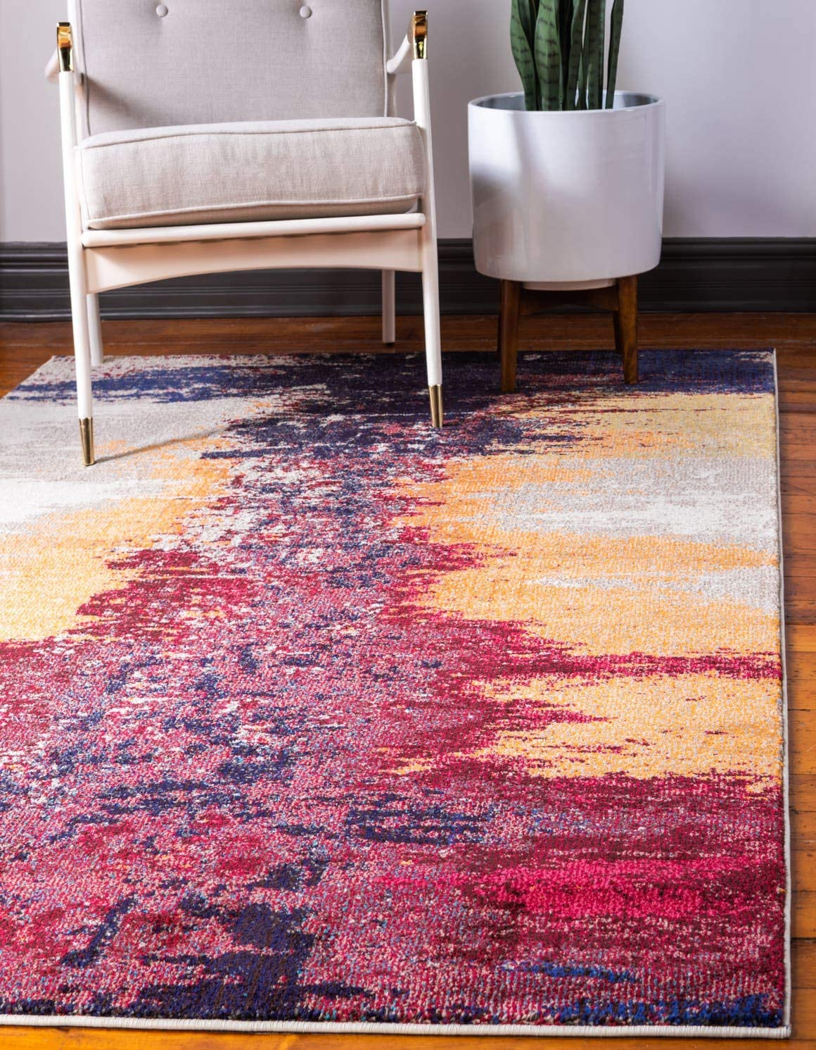 Unique Loom Estrella Collection Modern Abstract Orange Area Rug 9 0 x 12 0