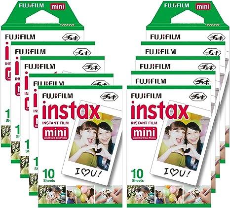 Fujifilm Instax Mini Brillo - Pack de 100 películas fotográficas instantáneas (10 x 10 hojas), color blanco: Amazon.es: Electrónica