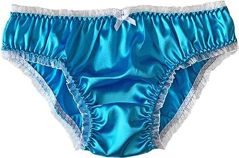 Shiny Sky Blue Satin Silk VINTAGE Double String Bikini Panties Knicker Sz-XXL-16
