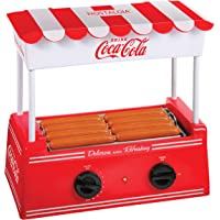 Nostalgia HDR8CK Coca-Cola Warmer 8 Regular Sized, 4 Foot Long Hot Dogs and 6 Bun Capacity, Stainless Steel Rollers, Perfect for Breakfast Sausages, Brats, Taquitos, Egg Rolls