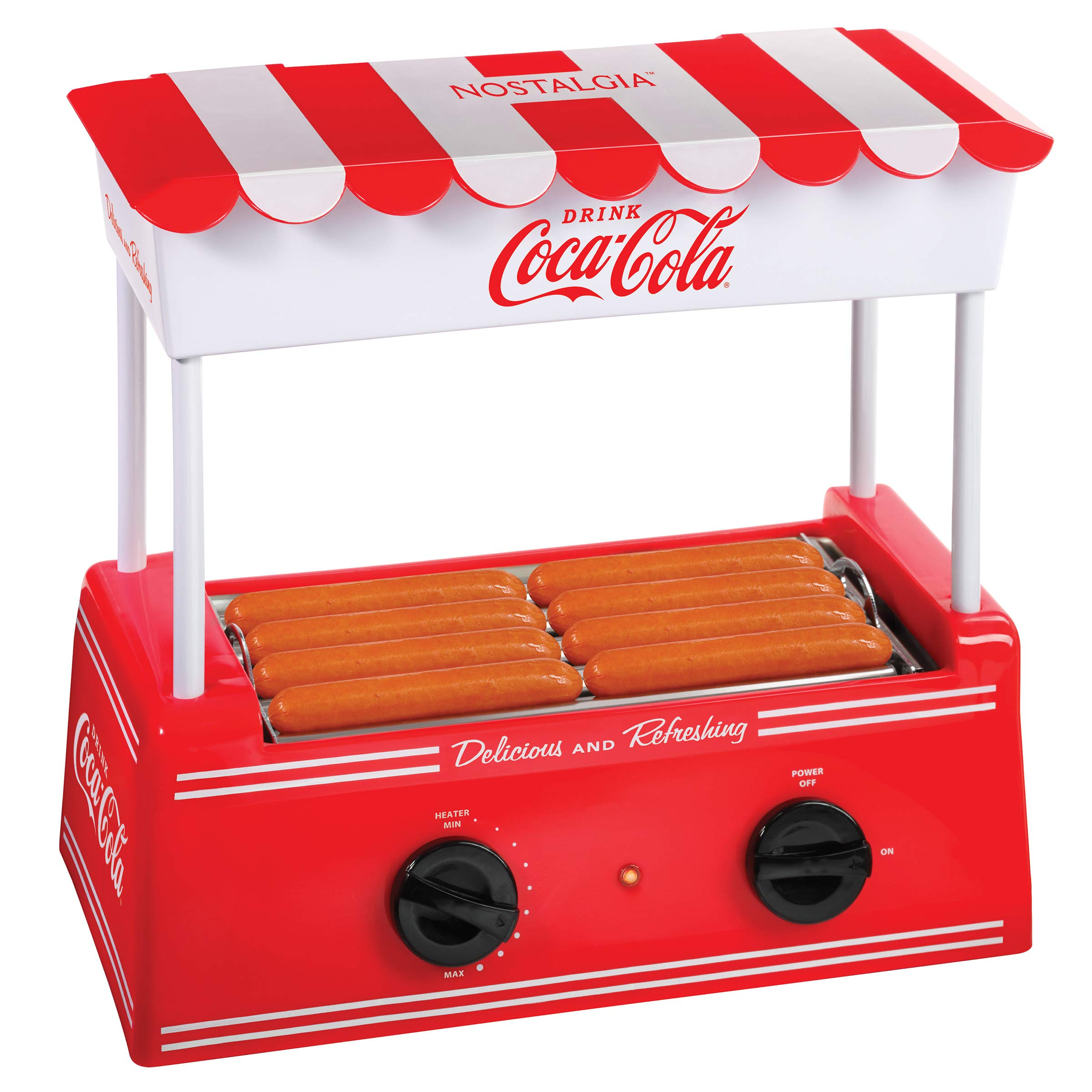Nostalgia HDR8CK Coca-Cola Hot Dog Warmer 8 Regular Sized, 4 Foot Long and 6 Bun Capacity, Stainless Steel Rollers, Perfect For Breakfast Sausages, Brats, Taquitos, Egg Rolls by Nostalgia