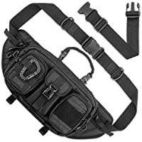 Fitdom Large Tactical Sling Bag for Men. Made from Heavy Duty Techwear Fabric & Built Tough for Outdoor. Also Use As EDC…