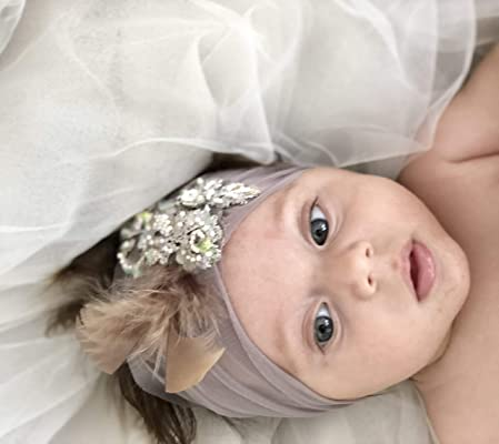 Baby Headbands By Yasmine | Unique Purple Soft Tulle and Purple Lace infant Headband with feathers and a rhinestone