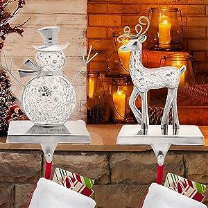 Asubaby Elk Christmas Stocking Holders, Snowman Mantel Stocking Hanger, Reindeer Christmas Hoilday Decorative Ornaments Set of 2