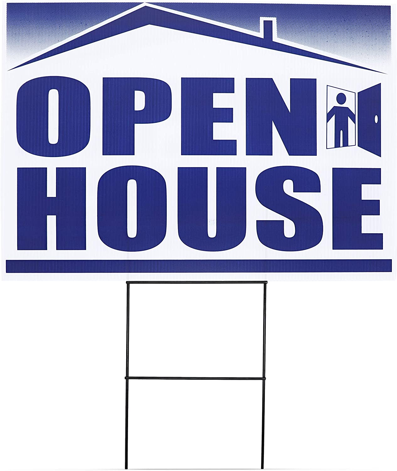 Juvale 6-Pack Open House Signs for Real Estate Agents with Stakes 12 x 17 Inches