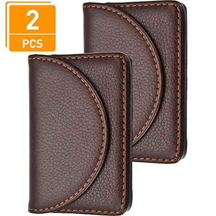 Amazon blulu 2 pieces pu leather business card cases card blulu 2 pieces pu leather business card cases card holder wallet name card case with magnetic colourmoves