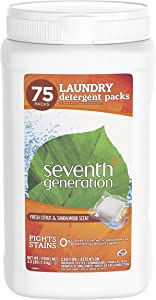 Seventh Generation Laundry Detergent Packs, Fresh Citrus & Sandalwood Scent, 75 Count