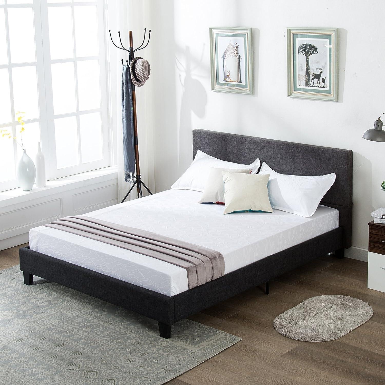 Mecor Upholstered Linen Full Platform Bed Metal Frame with Wood Slat Support, Grey/Full Size