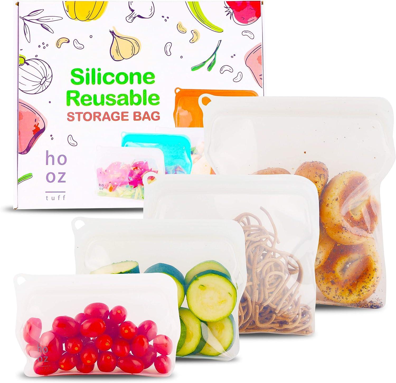 Hooztuff Silicone Food Storage Bag - (330ML, 470ML, 900ML, 1960ML). Lunch/Snack Bag, Leakproof, Dishwasher-Safe, Eco-friendly (Clear)