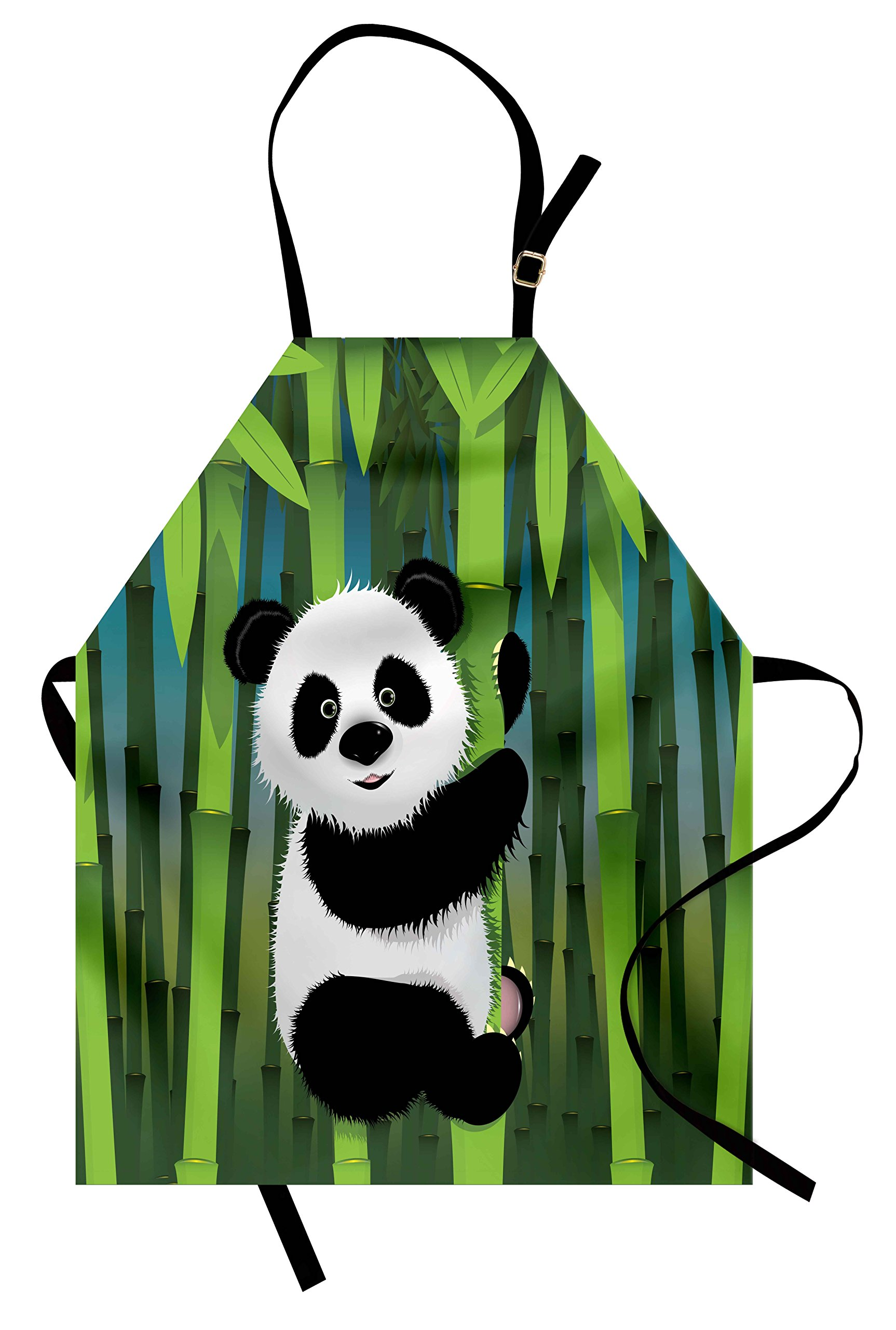 Lunarable Cartoon Apron, Curious Baby Panda on Stem of the Bamboo Bear Jungle Wood Illustration, Unisex Kitchen Bib Apron with Adjustable Neck for Cooking Baking Gardening, Fern Green Black White