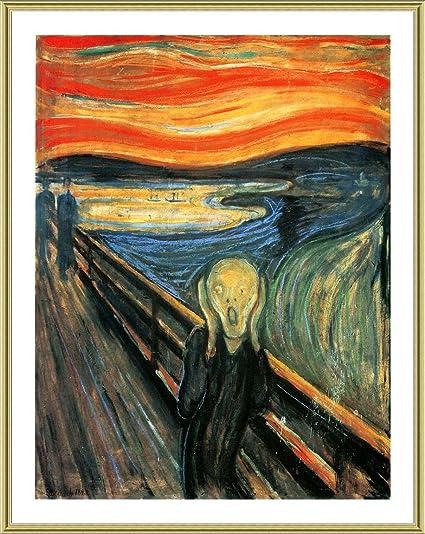 amazon com alonline art the scream edvard munch gold framed