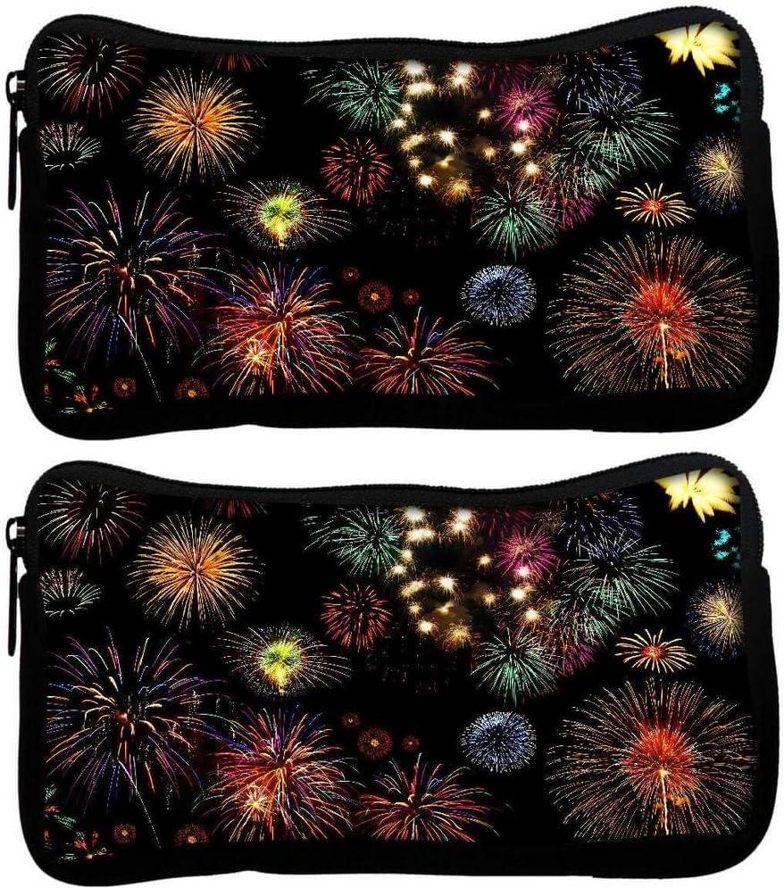 Snoogg Pack De 2 Colorido fuegos artificiales tela estudiante pluma lápiz caso bolsa de cosméticos bolsa de monedero: Amazon.es: Oficina y papelería