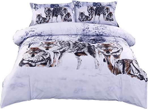Snow Wolf Duvet Cover with Pillow Cases Quilt Cover Bedding Set All Sizes