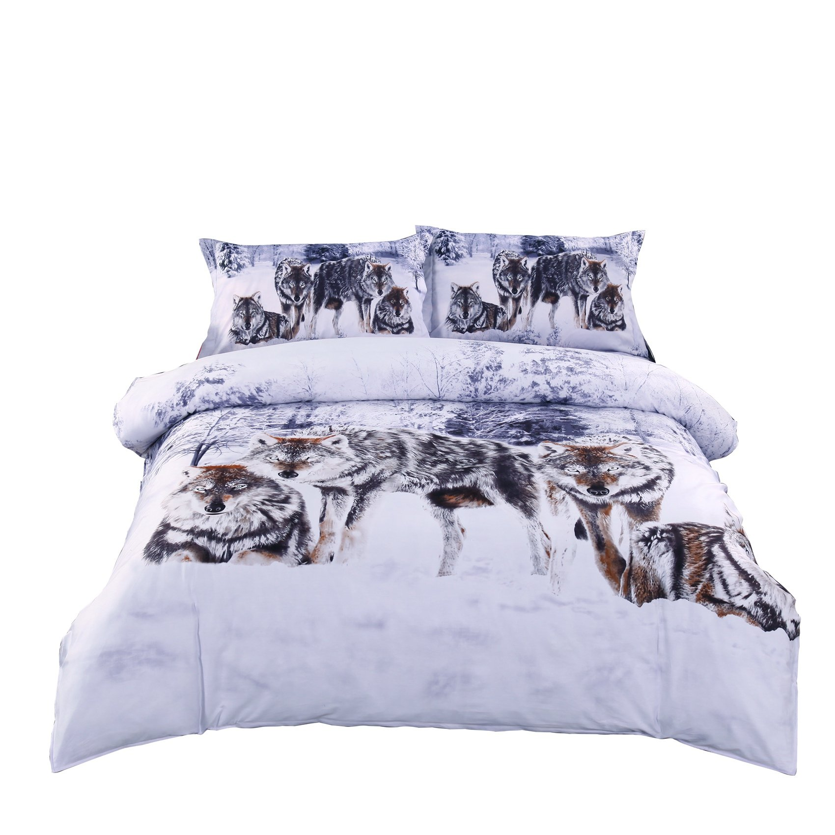Alicemall Wolf Bedding 3D Snow Wolf in the Woods Print 100% Cotton 4 Piece Duvet Cover Sets, Wolf Print Bedroom Sheet Set, Queen Size (Queen)