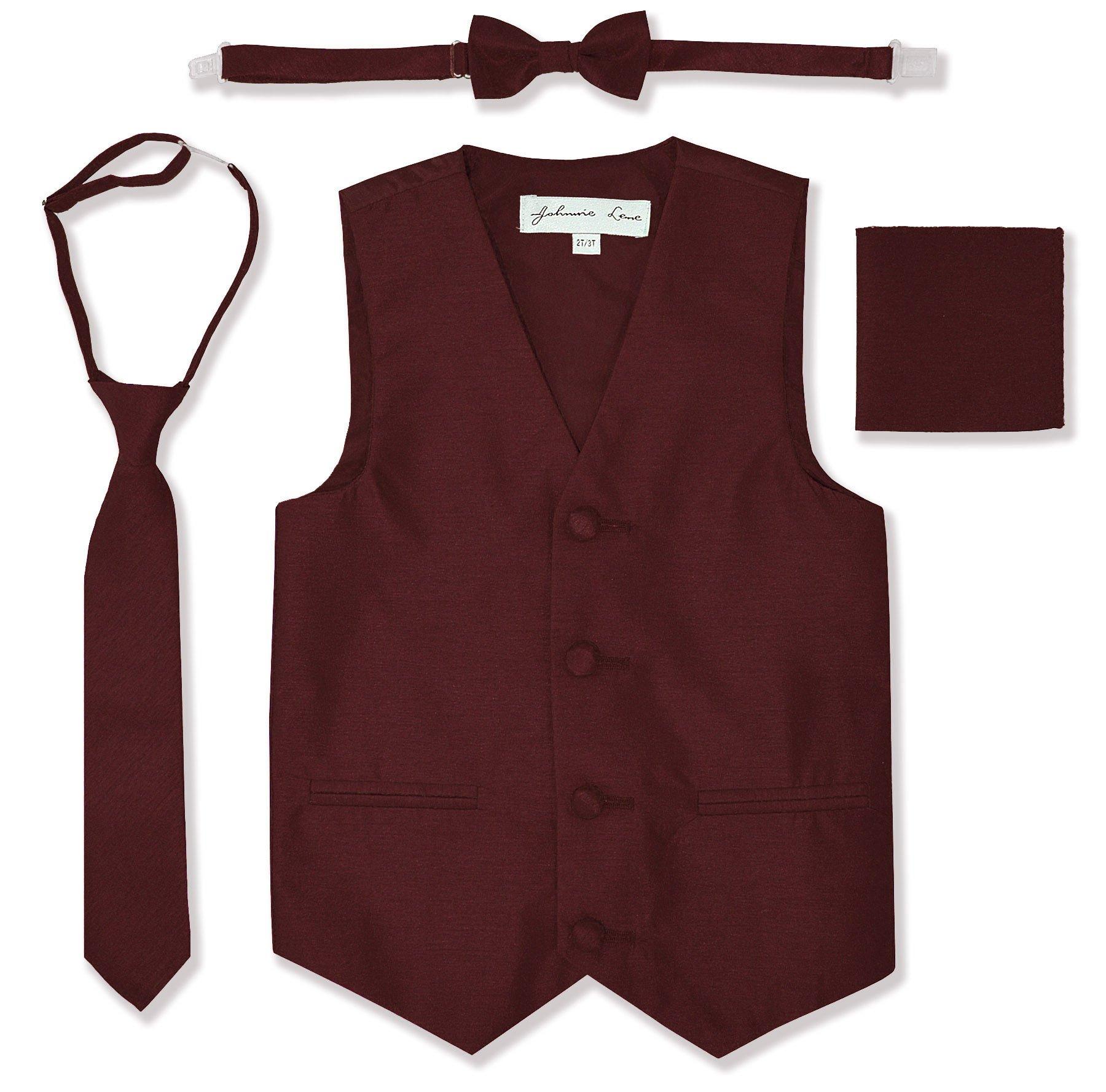JL34 Boys Formal Tuxedo Vest Set (8, Burgundy) by Johnnie Lene (Image #1)