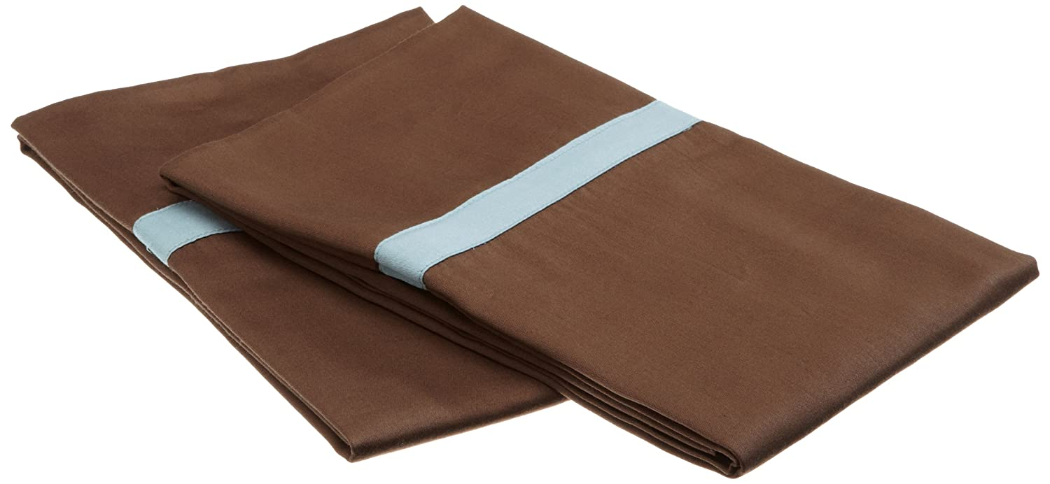 Mocha with Sky Blue Superior MOXSBKGPCSL300 Single Ply Hotel Collection King Pillowcase Set Impressions 300 Thread Count 100/% Cotton