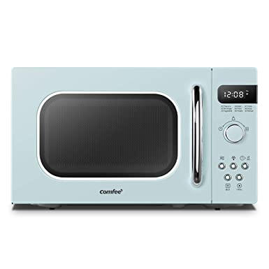 COMFEE AM720C2RA-G Retro Style Countertop Microwave Oven with 9 Auto Menus Position-Memory Turntable, Eco Mode, and Sound On Off Pastel Green 0.7Cu.Ft,