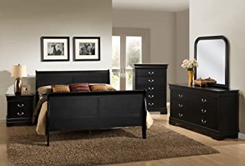Roundhill Furniture Isony 594 Louis Philippe Style Wood Bedroom Furniture  Set, King Bed, Dresser