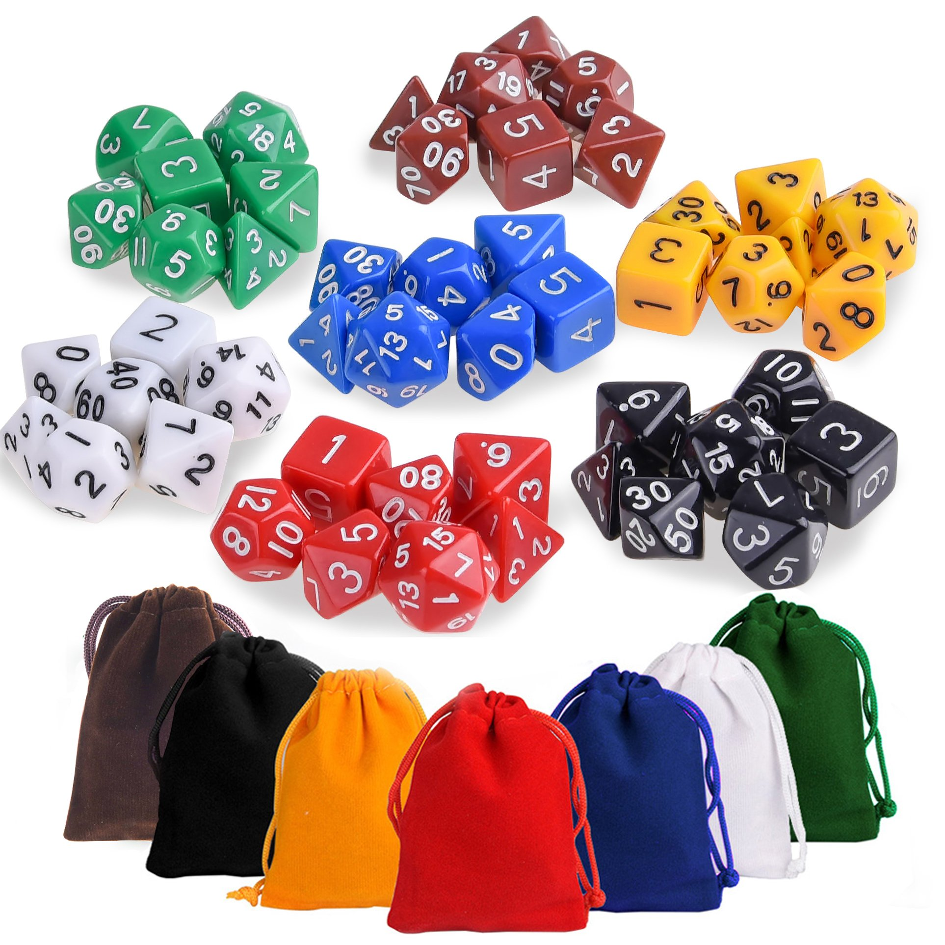 KUUQA DND Dice Set Polyhedral Game Dice Set with Dice Bags for Dungeons and Dragons DND D&D MTG RPG Card Games D% D20 D12 D10 D8 D6 D4, 7 x 7 (49 Pieces)