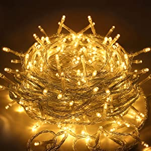 EMITEVER 115FT 300LED String Lights Indoor/Outdoor, Super Bright Christmas Lights with 8 Modes, More Durable Decorative String Lights for Xmas Tree Garden Patio Bedroom Wall Decor (Warm Yellow)