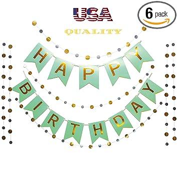 Amazon.com: Otyland – Juego de guirnaldas de papel dorado y ...