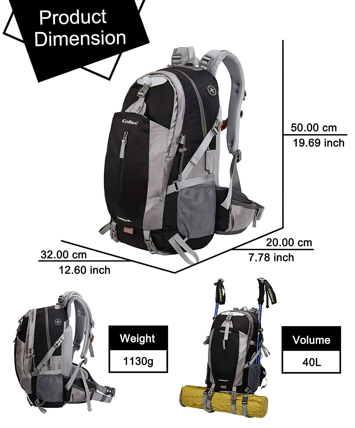 COLISAL 40L Hiking Backpack with Rain Cover Travel Outdoor Rucksack Waterproof for Men Women Lightweight Camping Backpack