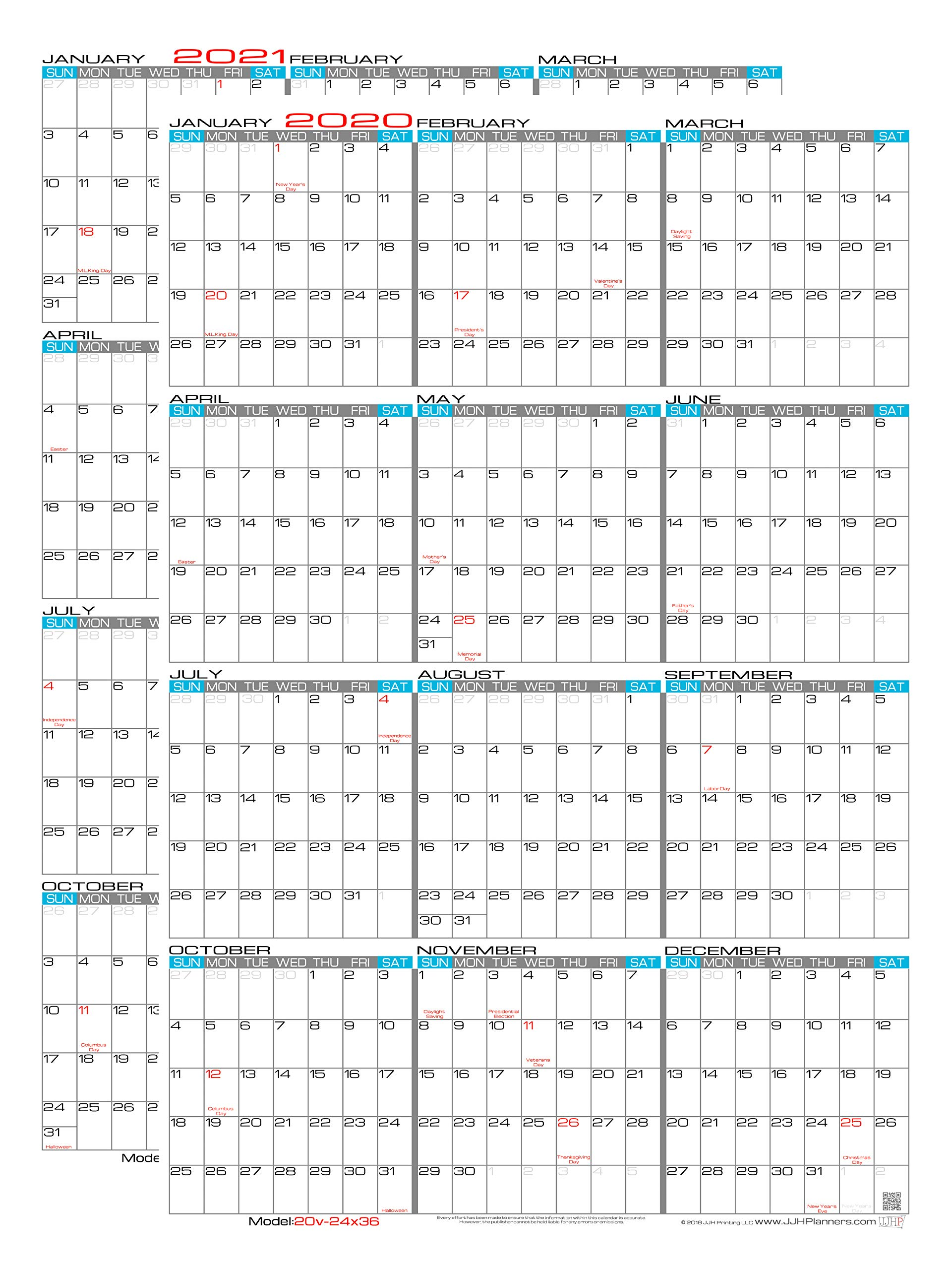 JJH Planners - Set of 2 - Laminated - 24'' X 36'' Large 2020 & 2021 Erasable Wall Calendars - Vertical 12 Month Yearly Annual Planners (2020 & 2021) by JJH Planners