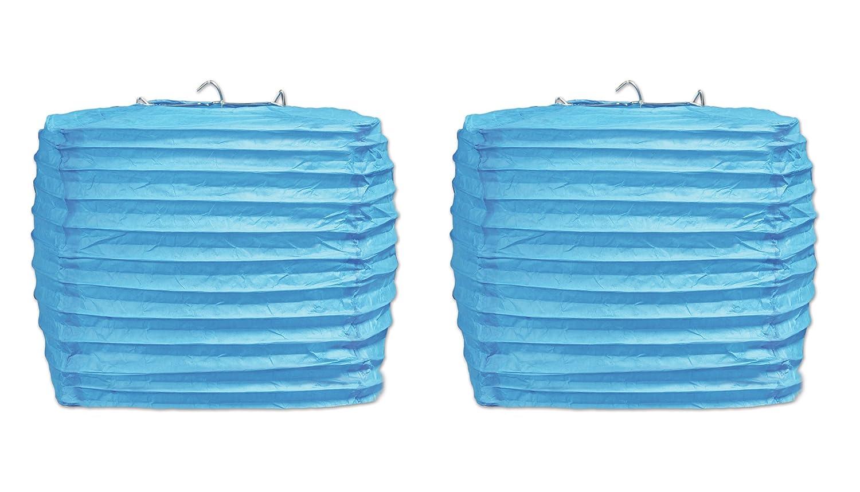 Beistle 54734-T 2 Piece 8 Square Paper Lanterns Turquoise