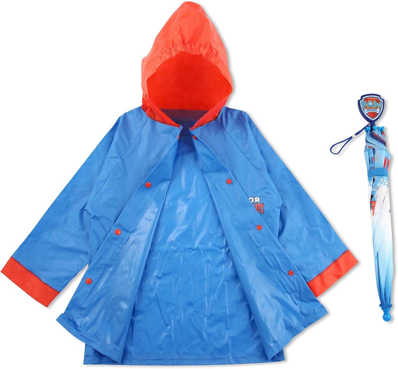 Age 4-5 Nickelodeon Boys Little Paw Patrol Character Slicker and Umbrella Rainwear Set Blue