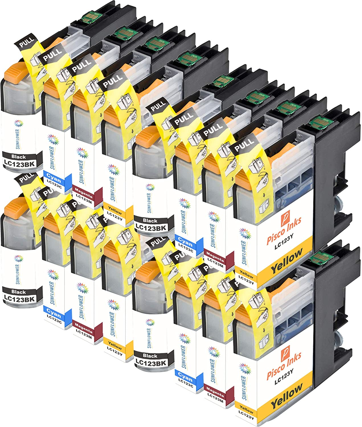 16 x LC 123 Sunflower Cartucho de Tinta Brother DCP J4110DW ...