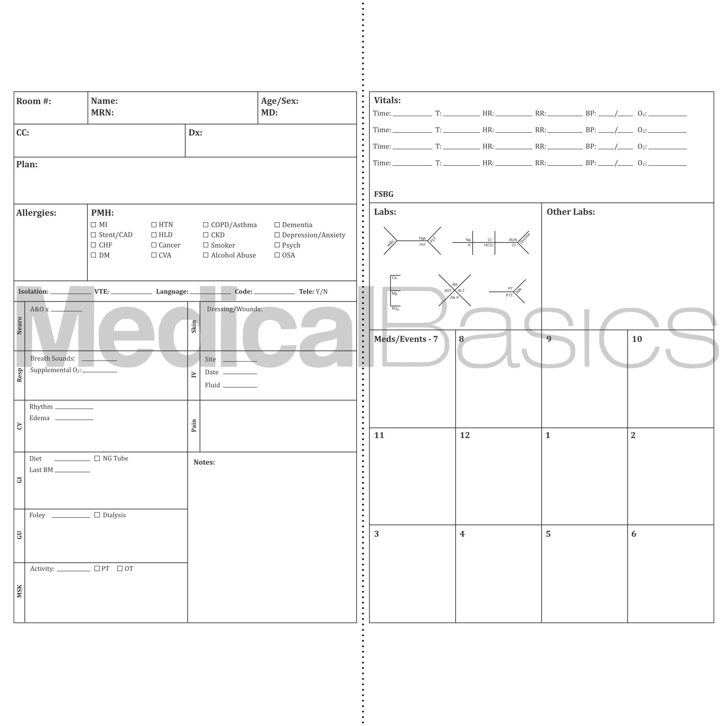 Pocket Nurse Report Sheet Notebook - Brain Sheet Template for MedSurg Nurses and CNA by Medical Basics (Image #2)