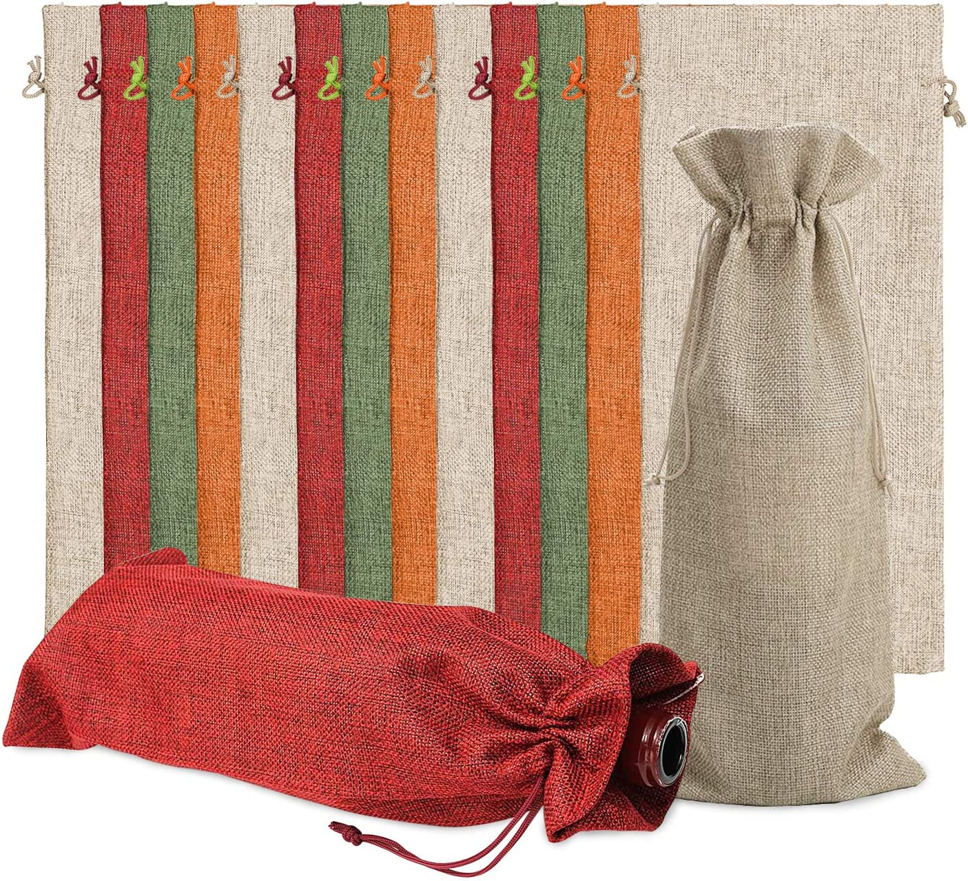 Burlap Wine Bags Wine Gift Bags,15 Pieces Wine Bottle Bags with Drawstrings,Reusable Wine Bottle Covers for Christmas Decorations Christmas Sweater Party Decorations